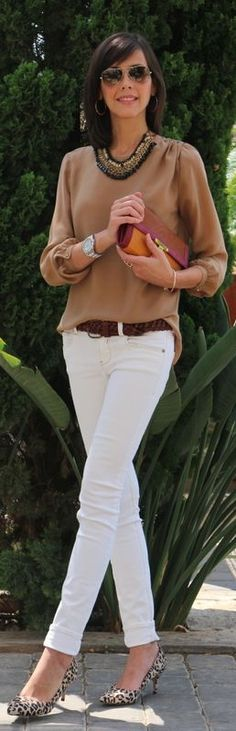 brown silk blouse casually tucked in white skinnies (love the necklace & leopard shoes, too)
