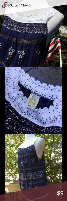 """🆕 Beautiful Top ! 💙 Made in Greece ! 100% cotton ! White embroidery at neckline and straps ! Small decorative white embroidered at hem ! Dark blue with gold and white Grecian Urns ect ! About 28""""length ! Has a little stretch ! Armpit to armpit is about 22"""" ! Tag for size says XL-4 but measurements to me are an XL ! Super pretty ! 💙 Made in Greece Tops"""