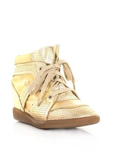 Gold booper wedge trainers by Isabel Marant