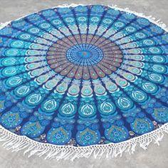 Blue Turquoise Round Mandala Tassel Beach Throw