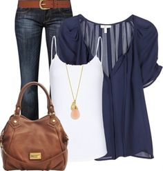 """blue and brown"" by felicia-alexandra ? liked on Polyvore"