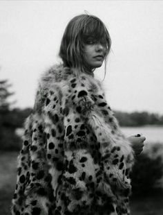 Frida in a fuzzy leopard print coat #style #fashion #bangs                                                                                                                                                                                 More