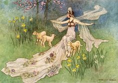 """These beasts of prey were instantly turned into three little lambs. 'The Woodcutter's Daughter' from """"The Fairy Book"""" (1913) illustrated by Warwick Goble"""