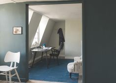 """New color by Farrow & Ball for Inchyra Blue No. A complex blue, Farrow & Ball color consultant Joa Studholme says, """"It may read as gray or even green to some people; it's perfect for use both in contemporary homes and traditional exteriors. Farrow Ball, Farrow And Ball Paint, Inchyra Blue Farrow, Farrow And Ball Inchyra Blue, Pantone 2016, Exterior Door Colors, Interior And Exterior, Exterior Doors, Interior Design"""