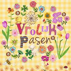 Vrolijke paaskaart met een kuikentje en lammetje met veel bloemen. ANDERE VERSIE? zie HIERONDER *Pasen Cartita Design