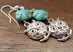 Owls That Spin Your Head Around! Silver owl earrings - Valentine's Day, Bridesmaid gift, Mother's Day, Anniversary, Birthday, gifts for her by IpanemaGirlShop on Etsy