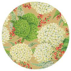 Caspari Snowball Hydrangeas gold Floral Designer Printed Paper Dessert Plates Wholesale 13440SP