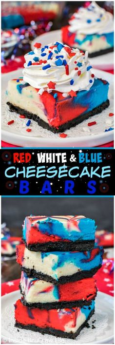 Red White and Blue Cheesecake Bars swirls of colors make a fun fireworks patter on these vanilla cheesecake bars Easy recipe to share at of July parties or picnics t. 4th Of July Desserts, Fourth Of July Food, Köstliche Desserts, Holiday Desserts, Holiday Baking, Holiday Recipes, Dessert Recipes, July 4th, Patriotic Desserts