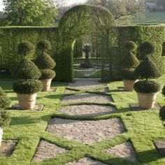 La Fête des Mères aux Jardins d'Eyrignac in Dordogne, France- I love, love, love this! and it proves that you don't need flowers for an amazing garden. Flowers are just icing on the cake if you have good structure in your garden. Garden Paths, Lawn And Garden, Garden Art, Garden Landscaping, Garden Design, Landscaping Ideas, Garden Ideas, Formal Gardens, Outdoor Gardens