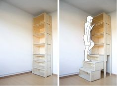 Garage shelving idea: the lower shelves actually glide out so you can step to reach top-shelf items.