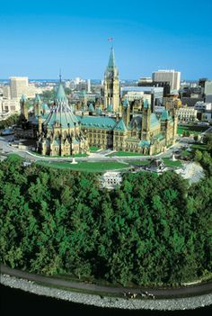 Ottawa, ON, Canada - Parliament buildings from air...
