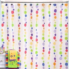 Little Miss Matched White Zany Dot Stripe PEVA Shower Curtain Kids