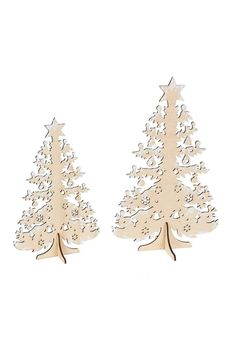"""Set of two wood, laser cut Christmas trees.    Measurement: 11.75"""" tall    Christmas Tree Set by Midwest CBK. Home & Gifts - Home Decor - Holiday Minnesota"""