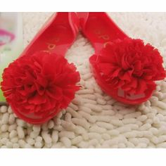 Jelly Red Rosette Flat Open Toe Bridesmaid Prom Ball Shoes Sandals SKU-1091035