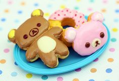 Rilakkuma and Donut Snack Kawaii Cookies, Cute Cookies, Mini Cookies, Kawaii Shop, Kawaii Cute, Kawaii Stuff, Kawaii Things, Desu Desu, Pastel Cupcakes