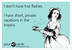 I don't have hot flashes. I have short, private vacations in the tropics.