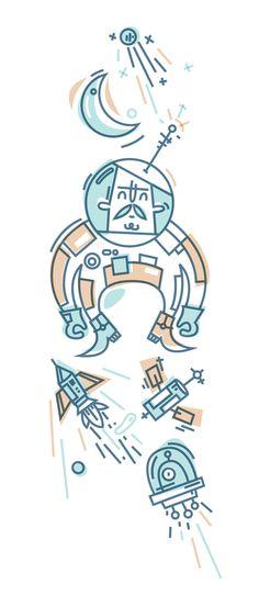 Las raras misiones espaciales de Mr. O by Daniel González, via Behance