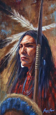 """James Ayers, presents """"The Warrior's Gaze"""", featuring a Cheyenne warrior with spear, shield, and war shirt. Ayers paints Native American art"""