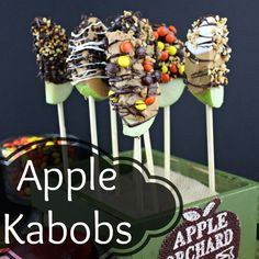 Apple Kabobs are apples dipped in chocolate or caramel and then rolled in nuts and candy toppings. A perfecttreat for a holiday party or classroom snack. Apple Recipes, Fall Recipes, Holiday Recipes, Fall Treats, Holiday Treats, Cranberry Fluff, Classroom Snacks, Apple Dip, Halloween Snacks