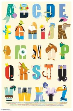DISNEY CHARACTERS - ALPHABET POSTER - 22x34 SCHOOL LEARNING 13370