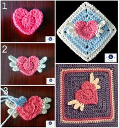 Angel Heart Granny Square Free Crochet Pattern