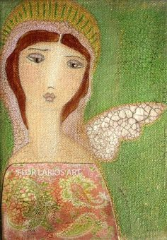 Angel with One Wing Collage Painting Primitive Folk