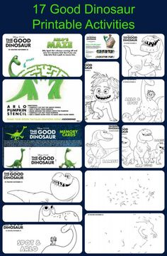 Here are 17 Good Dinosaur Printable Activities to be used for parties or just fun. 3 Connect the Dot pages Joy 9 Coloring pages Set 1 & Set 2 Crazy Maze Hexaflexagon Cut-Out Memory Cards Spot the Difference Pumpkin Carving Template  More Good Dinosaur Party Idea on Pinterest Follow MrsKathyKing's board The Good Dinosaur …