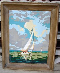 Vintage paint by number seascape. Ship. Craftint.