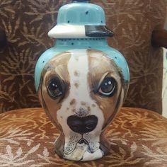 Custom Bassett hound medium pet urn pet portrait urns