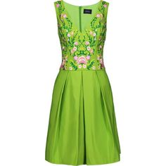 MARCHESA NOTTE   Pleated embroidered faille mini dress ($495) ❤ liked on Polyvore featuring dresses, floral embroidered dress, multi-color dresses, green embroidered dress, mini dress and colorful dresses