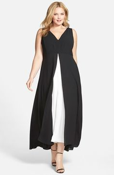 Adrianna Papell Colorblock V-Neck Jumpsuit (Plus Size) available at #Nordstrom