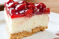 This light and delicious no-bake cheesecake is made with cream, cream cheese, and cherry pie filling. Light and fluffy unbaked cheesecake. Husband refuses to eat baked cheesecake after eating this! Food Cakes, Cheesecake Recipes, Dessert Recipes, Vegan Cheesecake, Cheesecake Brownies, Apple Desserts, Raspberry Torte, Strawberry Cheesecake, Light Cheesecake