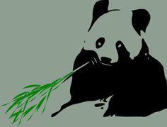 Panda bear by @przemyslaw, Panda bear silhouette holding a bamboo branch., on @openclipart