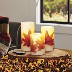 LED Pillar Candles Flameless Remote Control Battery Waxes Set Of 3 Autumn Leaves Flameless Candles, Pillar Candles, Work Friends, Crafts For Kids, Diy Crafts, Holiday Candles, Thanksgiving Crafts, Fall Harvest, Better Homes And Gardens