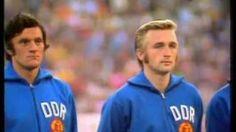 Fußball Weltmeisterschaft 1974 im Fernsehen - die DDR Mannschaft. Eine Provokation gegen die DDR während des Spiels.