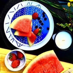 Fresh fruit is needed after all that chocolate on the weekend www.bzyoo.com #global #food #fresh #foodporn #dinnerware #picnic #bzyoo #kitchen #foodstyling #love #white #black #beauty #beautiful #blue #watermelon #strawberries #healthyeating #healthyfood #healthy #decor #design #homedecor #style