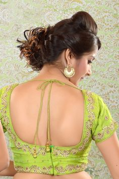 Parrot #Green raw silk #Kundan worked #blouse -BL454