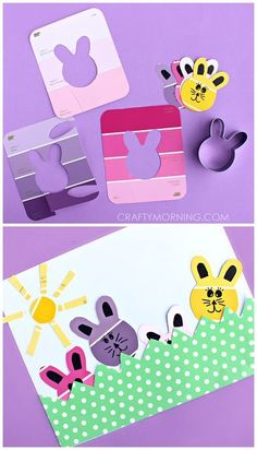 Paint Chip Bunny Art Project (Cute Easter craft for kids) | CraftyMorning.com