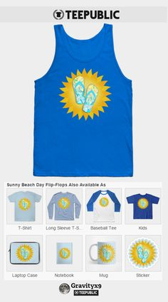 Check out my 'Sunny Beach Day Flip-Flops T-Shirt' on TeePublic, available in a variety of styles and colors. by  Gravityx9 Designs