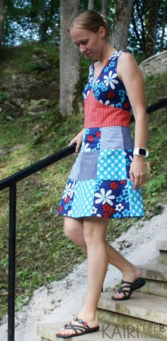 Lapikleit / patchwork dress; blue nautical