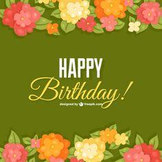 Birthday flowers card template