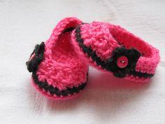Newborn Baby Shoes Booties Handmade Crochet Slipper Hot Pink Black #Handmade #Slippers