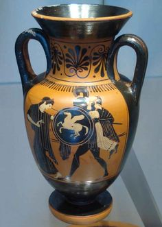 Aeneas carrying Anchises on his back during the fall of Troy , attributed to the Diosphos painter c. 500 BC.