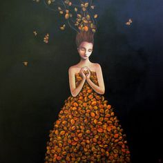 """""""Awakening"""" (Metamorphosis Of The Leaf Butterfly), by Duy Huynh (1975). Symbolist Surrealist painter."""
