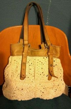 e292e506d Lucky Brand Leather Crochet Purse Love Crochet, Crochet Hooks, Large Bags,  Crochet Purses