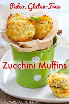 #Paleo, #GlutenFree Breakfast Zucchini Muffins. Fast, easy, delicious! // www.OnDietAndHealth.com