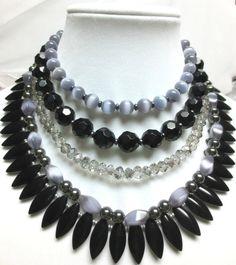 Black Smokey Grey Glass Grey Cats Eye and by JoJoandLynnie on Etsy, $90.00