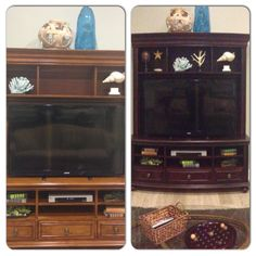 Entertainment center makeover - stained using miniwax which required no sanding. Love the darker wood over the light oak!