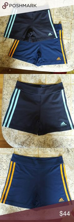 2 pair Adidas Workout shorts/ size small Bundle of two pair of Adidas workout shorts. One pair is Navy with orange stripes and the other is black with baby blue stripes. Both in perfect condition like new, size small. Perfect for working out jogging or just hanging around. $25 for each or $44 for both. Adidas Shorts