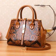 PU Retro Embroidery Handbag